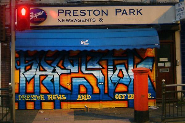 Preston news graffiti shutter