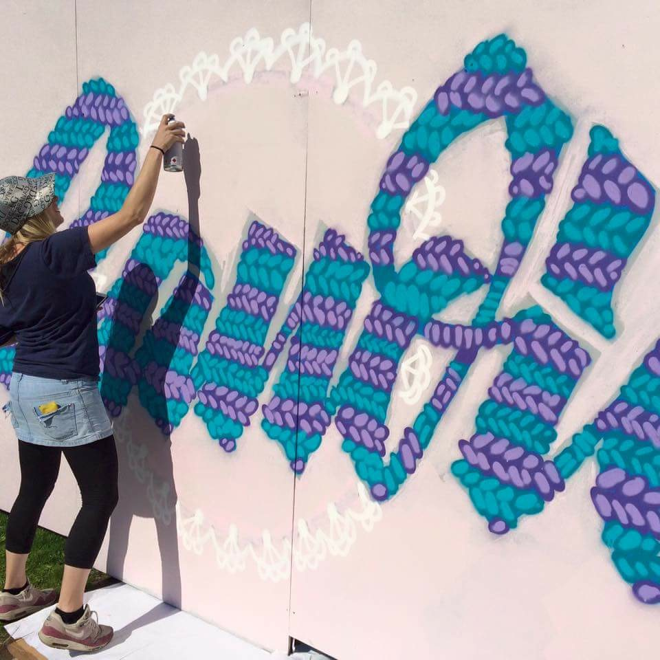 Girls on Top crew - UpFest 2015 granny themed wall Candie graffiti UpFest 2015 woolen knitted doily