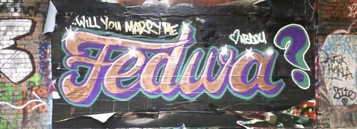 Graffiti marriage proposal, Shoreditch